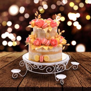 Dviejų aukštų tortas su makaroonsais