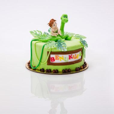 """Vaikiškas tortas """"Dinozauriukas su vaiku"""""""