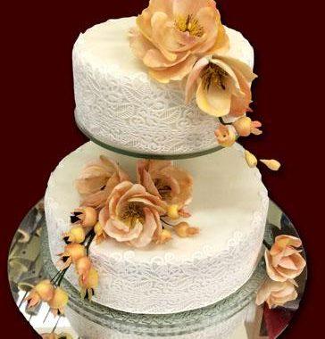 Dviejų aukštų tortas su stovu ir Sugar Veil