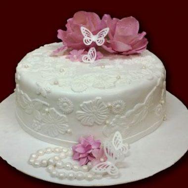 Jubiliejinis tortas su alyvinėm gėlėm