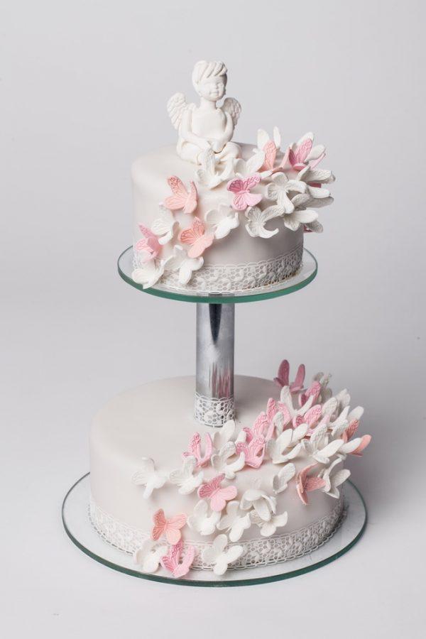 Krikštynų tortas su drugeliais