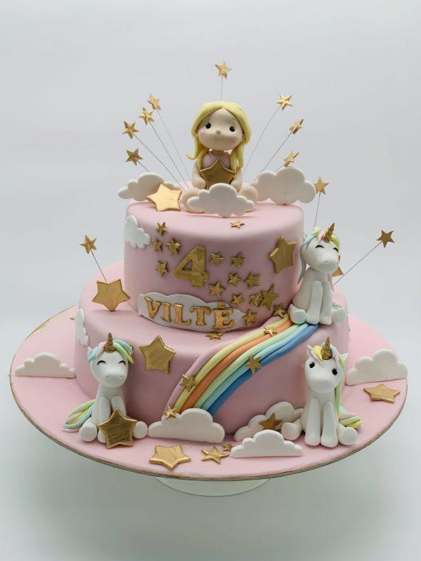 """Vaikiškas tortas """"Mergaitė su poniais"""""""