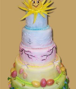 """Velykinis tortas """"Pavasarinė pilis"""""""