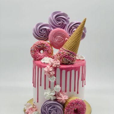 """Vaikiškas tortas """"Rožinis su spurgom"""""""