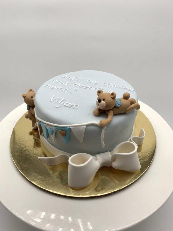 Krikštynų tortas su meškučiais