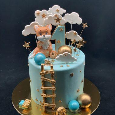 Vaikiškas tortas su lapiukiu ir debesėliais