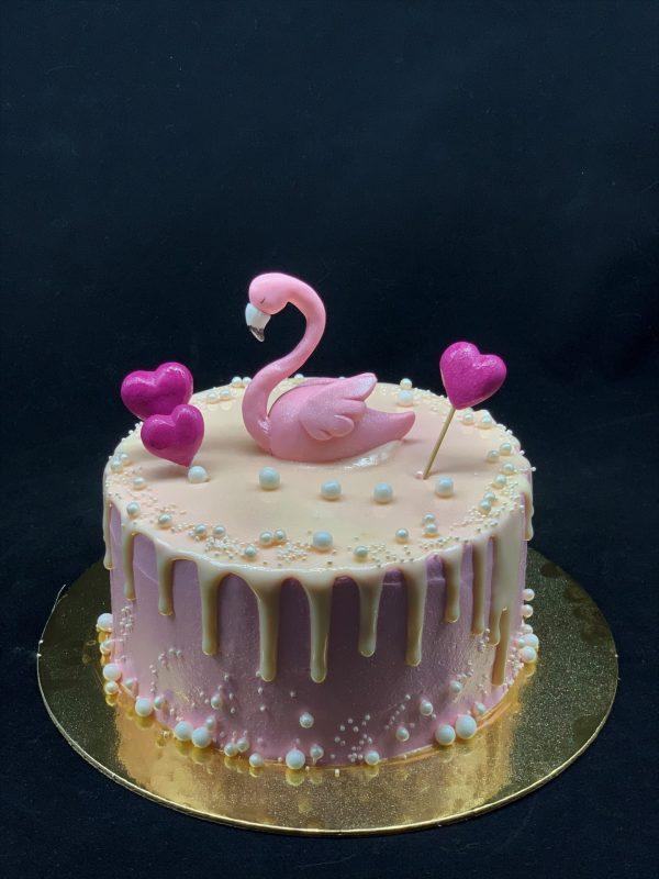 Vaikiškas tortas su flamingu