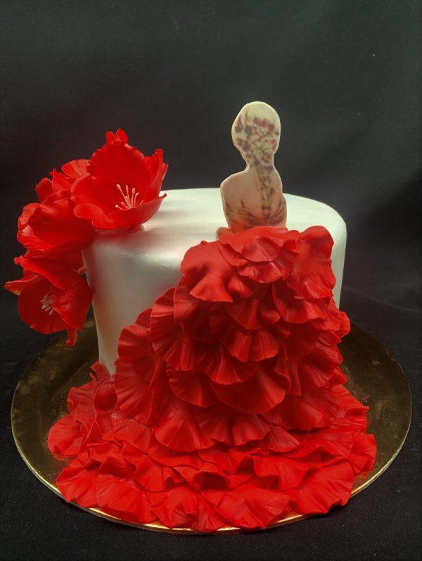 """Jubiliejinis tortas """"Raudona suknelė"""""""