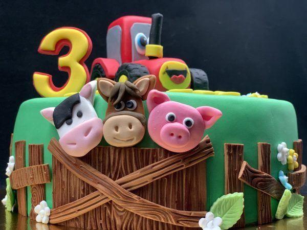 Vaikiškas tortas su traktoriumi