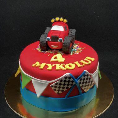 Vaikiškas tortas su džipu