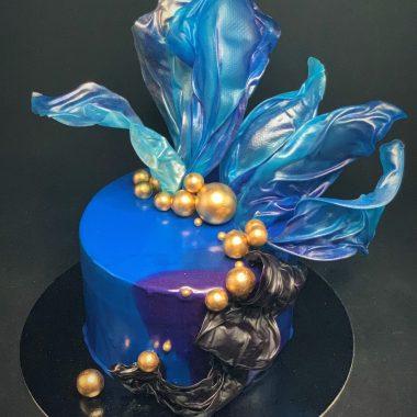 """Jubiliejinis tortas """"Mėlyna - juoda"""""""