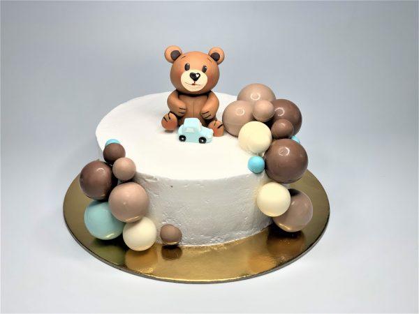 Vaikiškas tortas su meškučiu ir burbulais