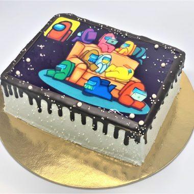 Vaikiškas tortas su amongų nuotrauka