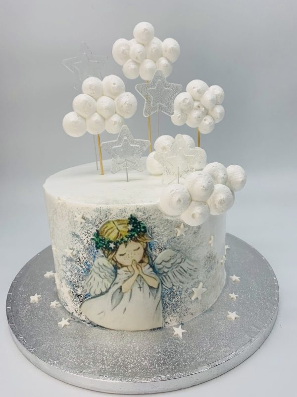 Komunijos tortas su angelu ir debesėliais