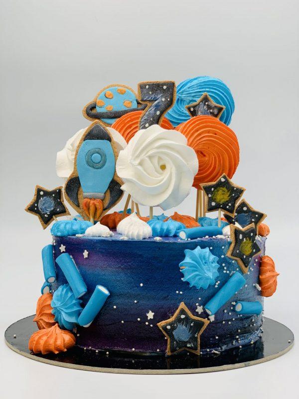"""Vaikiškas tortas """"Skrydis į kosmosą"""""""