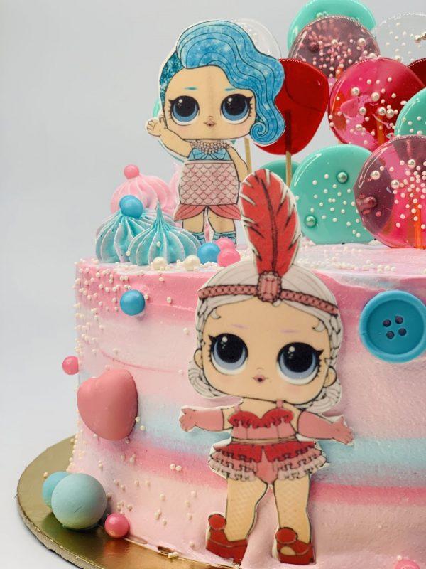 """Vaikiškas tortas """"LOL lėlytės"""""""