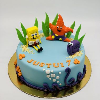 """Vaikiškas tortas """"Kempiniukas ir draugai"""""""